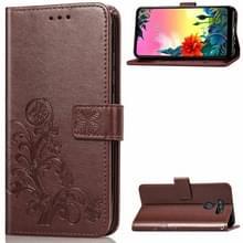 Voor LG K50S Vierbladige Gesp In reliëf Buckle Mobile Phone Protection Leather Case met Lanyard & Card Slot & Wallet & Bracket Function(Brown)