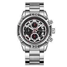 OCHSTIN6114B mannen Europese en Amerikaanse Business polshorloge kalender multi functionele mode mannen horloge stalen band horloge (zilverachtig)
