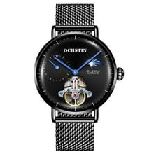 OCHSTIN 6121 Vliegwiel mechanische Horloge Fashion Hollow Full Automatic Mechanische Horloge Business Men Watch stainless Steel Watch Waterproof Watch (Zwart)