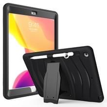 Voor iPad 10.5 2019 360 Graden Rotatie PC + Siliconen beschermhoes met houder & handriem(Zwart)