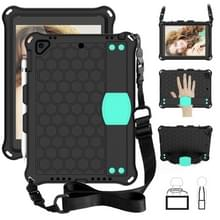 Voor iPad 9.7 2017/2018 Honeycomb Design EVA + PC Four Corner Anti Falling Flat Protective Shell With Straps (Black + Mint)