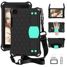 For  Galaxy Tab A8.0 T290 / T295(2019) Honeycomb Design EVA + PC Four Corner Anti Falling Flat Protective Shell With Straps(Black + Mint)