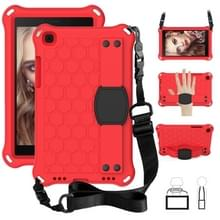 Voor Galaxy Tab A8.0 T290 / T295(2019) Honeycomb Design EVA + PC Four Corner Anti Falling Flat Protective Shell With Straps (Red+Black)