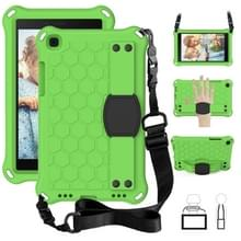 Voor Galaxy Tab A8.0 T290 / T295(2019) Honeycomb Design EVA + PC Four Corner Anti Falling Flat Protective Shell With Straps (Groen+Zwart)