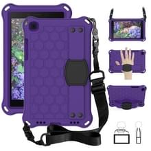 Voor Galaxy Tab A8.0 T290 / T295(2019) Honeycomb Design EVA + PC Four Corner Anti Falling Flat Protective Shell With Straps (Purple+Black)