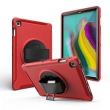 Voor iPad mini 4/5 360 graden Rotatie PC + Siliconen beschermhoes met houder & handriem(Rood)