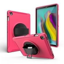 Voor iPad mini 4/5 360 Graden Rotatie PC + Siliconen beschermhoes met houder & handriem(Rose Red)