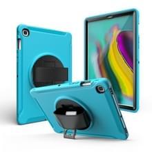 Voor iPad mini 4/5 360 graden Rotatie PC + Siliconen beschermhoes met houder & handriem(Lichtblauw)