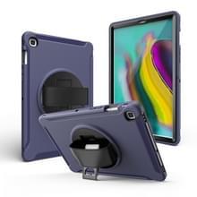 Voor iPad mini 4/5 360 Graden Rotatie PC + Siliconen beschermhoes met houder & handriem (donkerblauw)