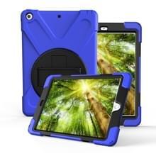 Voor iPad Pro10.5 / Air 10.5 2019 360 Graden Rotatie PC + Siliconen beschermhoes met houder & handriem(Donkerblauw)