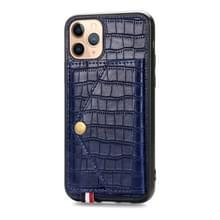 Voor iPhone 11 Pro Max krokodil patroon PU + TPU + PVC Shatter-resistente mobiele telefoon geval met magnetische onzichtbare houder & houder & kaartsleuven (Sapphire Blue)