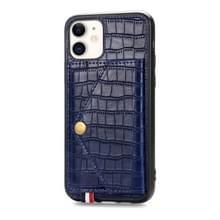 Voor iPhone 11 krokodil patroon PU + TPU + PVC Shatter-resistente mobiele telefoon geval met magnetische onzichtbare houder & houder & kaartsleuven (Sapphire Blue)