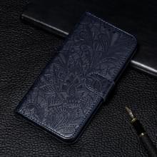 Voor Xiaomi Mi 10 & 10 Pro Kantbloem reliëf patroon horizontaal flip lederen kast met houder & kaartslots & portemonnee & fotolijst & lanyard(Donkerblauw)