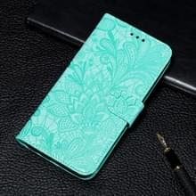 Voor Xiaomi Mi 10 & 10 Pro Kantbloem reliëf patroon horizontaal flip lederen kast met houder & kaartslots & portemonnee & fotolijst & lanyard(groen)