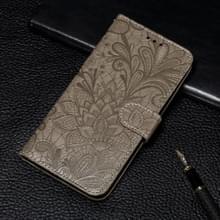 Voor Xiaomi Mi 10 & 10 Pro Kantbloem reliëf patroon horizontaal flip lederen kast met houder & kaartslots & portemonnee & fotolijst & lanyard(grijs)