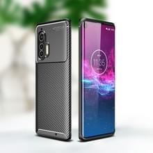 Voor Motorola Edge Plus Carbon Fiber Texture Shockproof TPU Case (Zwart)