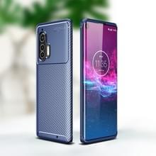 Voor Motorola Edge Plus Carbon Fiber Texture Shockproof TPU Case (Blauw)