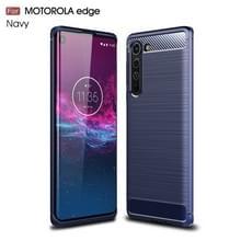 Voor Motorola Moto Edge Geborsteld Textuur Carbon Fiber TPU Case (Navy Blue)