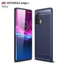Voor Motorola Moto Edge Plus Geborstelde textuur Koolstofvezel TPU Case (Navy Blue)