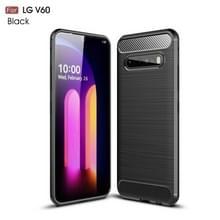 Voor LG V60 ThinQ Geborstelde textuur Carbon Fiber Shockproof TPU Case (Zwart)