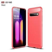 Voor LG V60 ThinQ Geborsteldtextuur Carbon Fiber Shockproof TPU Case(Rood)
