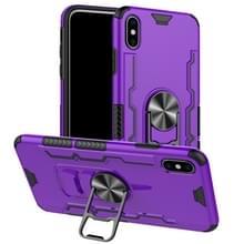 Voor iPhone XS Max Shockproof PC + TPU Beschermhoes met bieropener & autohouder(paars)