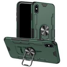 Voor iPhone XS Max Shockproof PC + TPU Beschermhoes met bieropener & autohouder(groen)