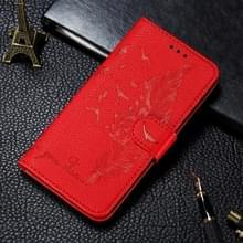 Voor Xiaomi Mi 10 & 10 Pro Litchi Texture Feather Embossing Horizontal Flip Leather Case met Holder & Card Slots & Wallet & Photo Frame & Lanyard(Red)