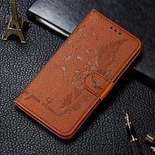 Voor Xiaomi Mi 10 & 10 Pro Litchi Texture Feather Embossing Horizontal Flip Leather Case met Holder & Card Slots & Wallet & Photo Frame & Lanyard(Brown)