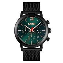 Skmei 9203 Night Light Mannen Kijken Fashion Leisure Multi-function Timing Steel Mesh Belt Quartz Watch (Groen)