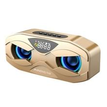 M5 Cool Owl Design Bluetooth Speaker LED Flash Wireless Loudspeaker FM Radio Wekker TF-kaart (Goud)