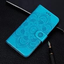 Voor Xiaomi Mi 10 & 10 Pro Mandala Reliëf Patroon Horizontaal Flip Lederen Hoesje met Holder & Card Slots & Wallet & Photo Frame & Lanyard(Blauw)
