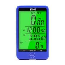 SUNDING SD-576C Fiets LCD Backlight Stopwatch Fiets snelheidsmeter fietsen kilometerteller Stopwatch(Blauw)