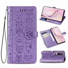 Voor Xiaomi 10/10 Pro Cute Cat and Dog Embossed Horizontal Flip Leather Case with Bracket / Card Slot / Wallet / Lanyard (Purple)