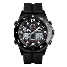 SKMEI 1538 Multi-function Time Large Dial Steel Belt Men Casual Sports Electronic Watch (Zwart-Siliconen Riem)