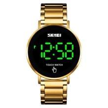 SKMEI 1550 Eenvoudige en stijlvolle LED Touch Screen Mannen horloge waterdicht roestvrij staal met elektronisch horloge (Goud)