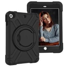Voor iPad 10.2 PC + Siliconen Schokbestendige combinatiecase met 360 graden roterende houder & handgreep(Zwart)