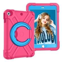 Voor iPad 10.2 PC + Siliconen Schokbestendige combinatiecase met 360 graden roterende houder & handgreep (Rose Red+Blue)