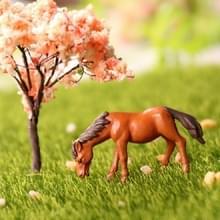 2 stuks Moss micro-landschap decoratie decoraties pony mini standbeeld (bruin)