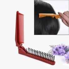 Draagbare Travel Folding Comb Anti-statische Massage Comb (Rode houtnerf)