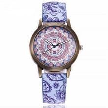 W0800 retro bloemmotief lederen riem quartz horloge (E)