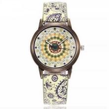 W0800 retro bloemmotief lederen riem quartz horloge (B)