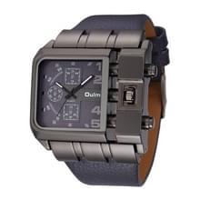 Oulm 3364 mannen vierkante wijzerplaat lederen riem quartz horloge (blauw)