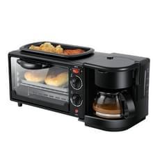 3 in 1 Elektrische Ontbijtmachine Multifunctionele Koffiezetapparaat + Koekenpan + Mini Oven Huishoudelijk brood Pizza Oven(Zwart)