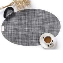 PVC ovale vorm eettafel mat warmte-isolatie anti slip placemats disc Bowl servies pads (grijs)