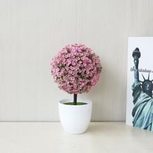 Desktop simulatie plant mini gras bal Bonsai ingericht kunststof bloem Cherry Blossom sneeuwbal kunstmatige bloemen (roze)