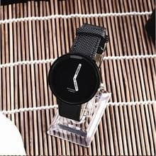 Eenvoudige stijl ronde Dial matte lederen band quartz horloge voor mannen/vrouwen (zwart)