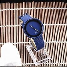 Eenvoudige stijl ronde Dial matte lederen band quartz horloge voor mannen/vrouwen (blauw)