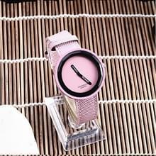 Eenvoudige stijl ronde Dial matte lederen band quartz horloge voor mannen/vrouwen (roze)