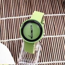 Eenvoudige stijl ronde Dial matte lederen band quartz horloge voor mannen/vrouwen (groen)